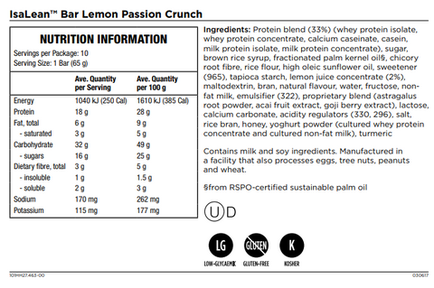 Isagenix Isalean Bar Lemon Passion Crunch