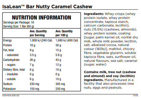 Isagenix Isalean Bar Nutty Caramel Cashew