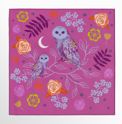 Twilight Owls Silk Scarf-Note 3-4 week processing time