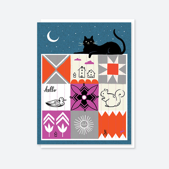 Cat Quilt Blank Card