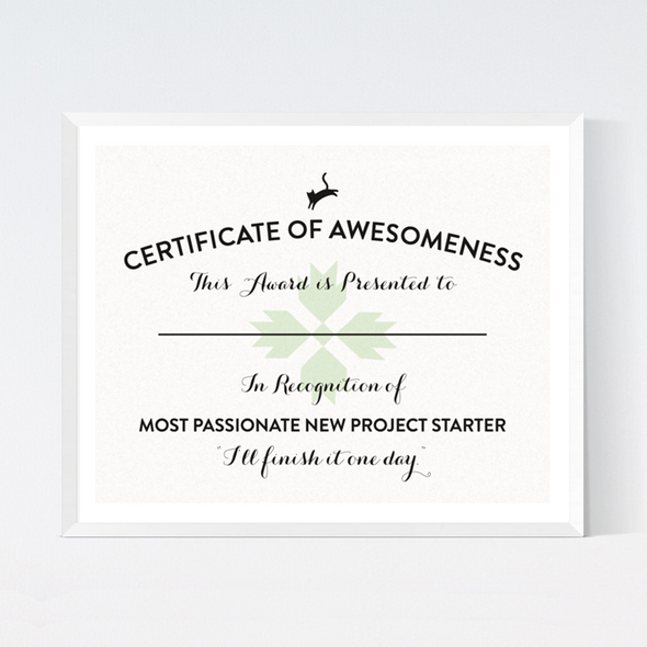 Certificate of Awesomeness Art Print
