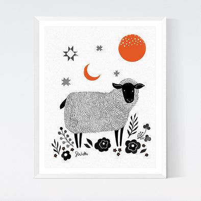 Moon Sheep Art Print