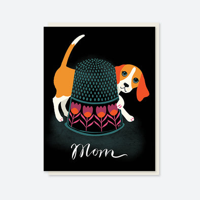 """Mom"" Beagle and Thimble Card"