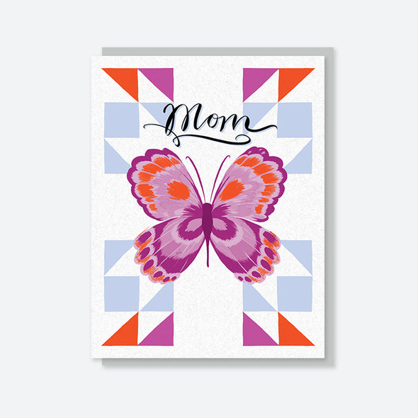 """Mom"" Butterfly Quilt Card"