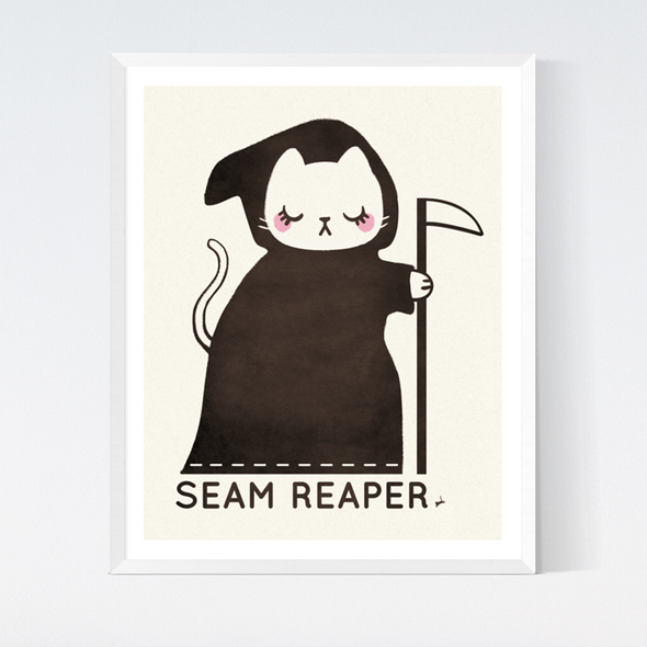 Seam Reaper Cat Art Print