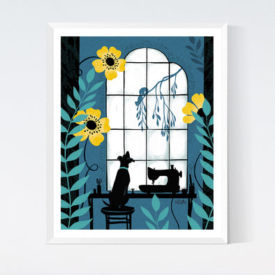 Window Pup Art Print
