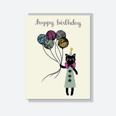 """Happy Birthday"" Yarn Balloon Cat Card"