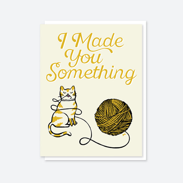 """I Made You Something"" Yarn Cat Card"