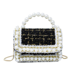 Tweed & Pearls mini bag in BLACK