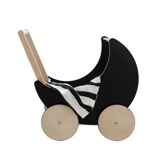 Wooden Toy Pram in BLACK