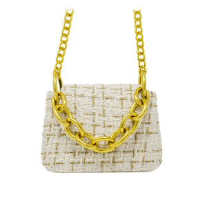Tiny Tweed Gold Link Chain Bag in Blanc