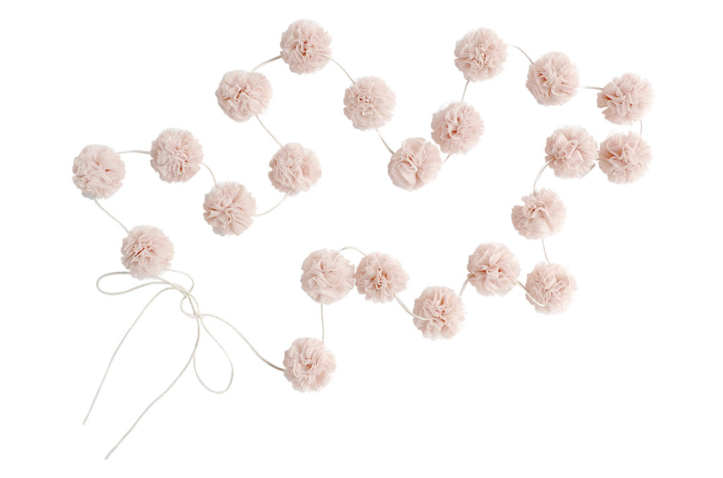 Mini Pom Pom Garland by Spinkie Baby in Champagne