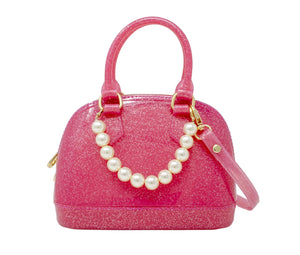 """MILA"" Glitter & Pearls Jelly Bowling Crossbody Bag in Hot Pink."