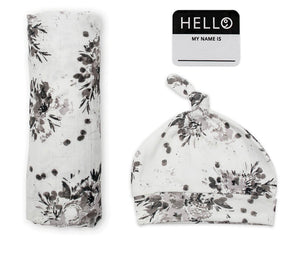 Hello World Hat & Swaddle Set in Floral