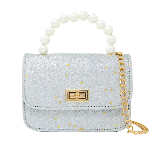 """Avery"" Sparkle Pearl Handle Mini Bag"