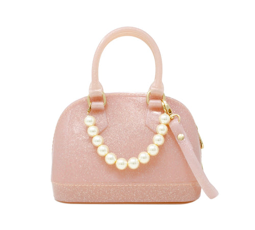 """KALEIGH"" Glitter & Pearls Jelly Bowling Crossbody Bag in Light Pink."