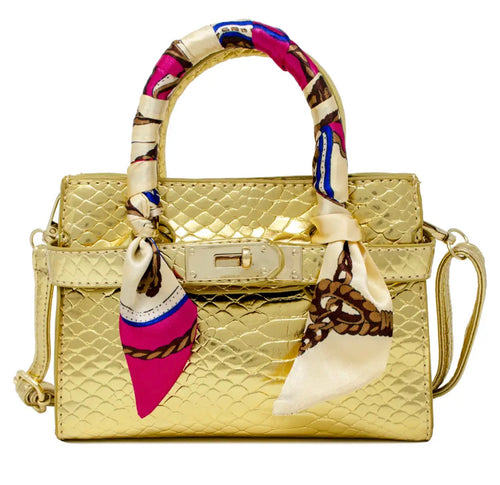 Metallic Crocodile Buckle Bag in Gold.
