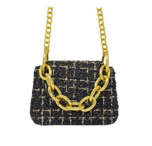 Tiny Tweed Gold Link Chain Bag in Noir