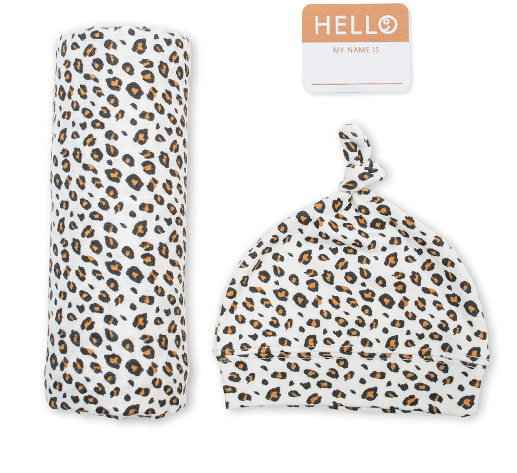 Hello World - Hat and Swaddle Set in Leopard