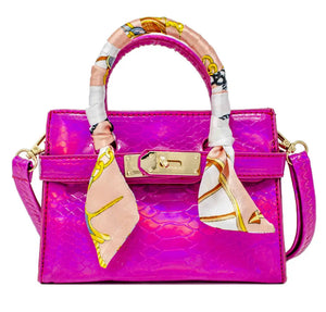 """AVA"" Metallic Crocodile Buckle Bag in Pink"