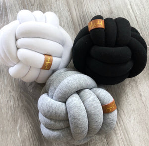 Mini Knot Pillow in Light Grey
