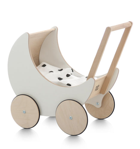 Wooden Toy Pram in WHITE