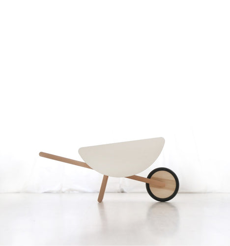 Wooden Toy Wheelbarrow in WHITE