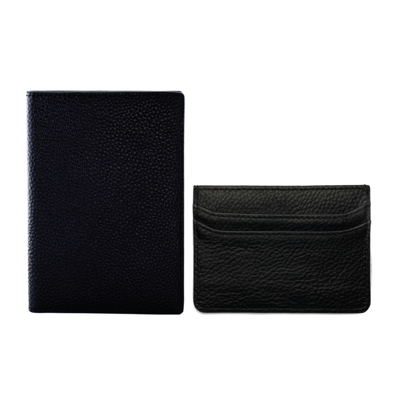 Black Passport Holder + Card Holder Set