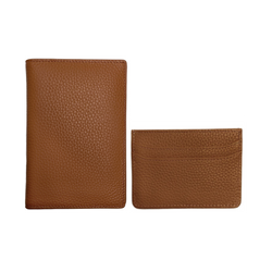 Cognac Passport Holder + Card Holder Set