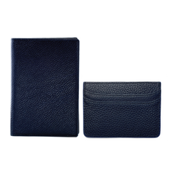 Navy Passport Holder + Card Holder Set