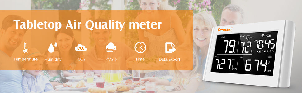 Air quality monitor to measure PM2.5 , temperature and humidity, specific to help you protect your family and everyone around you