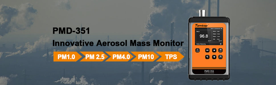 Temtop PMD 351, Handheld Air Quality Particle dust  Counter PM1.0, PM2.5, PM4.0, PM10,TSP