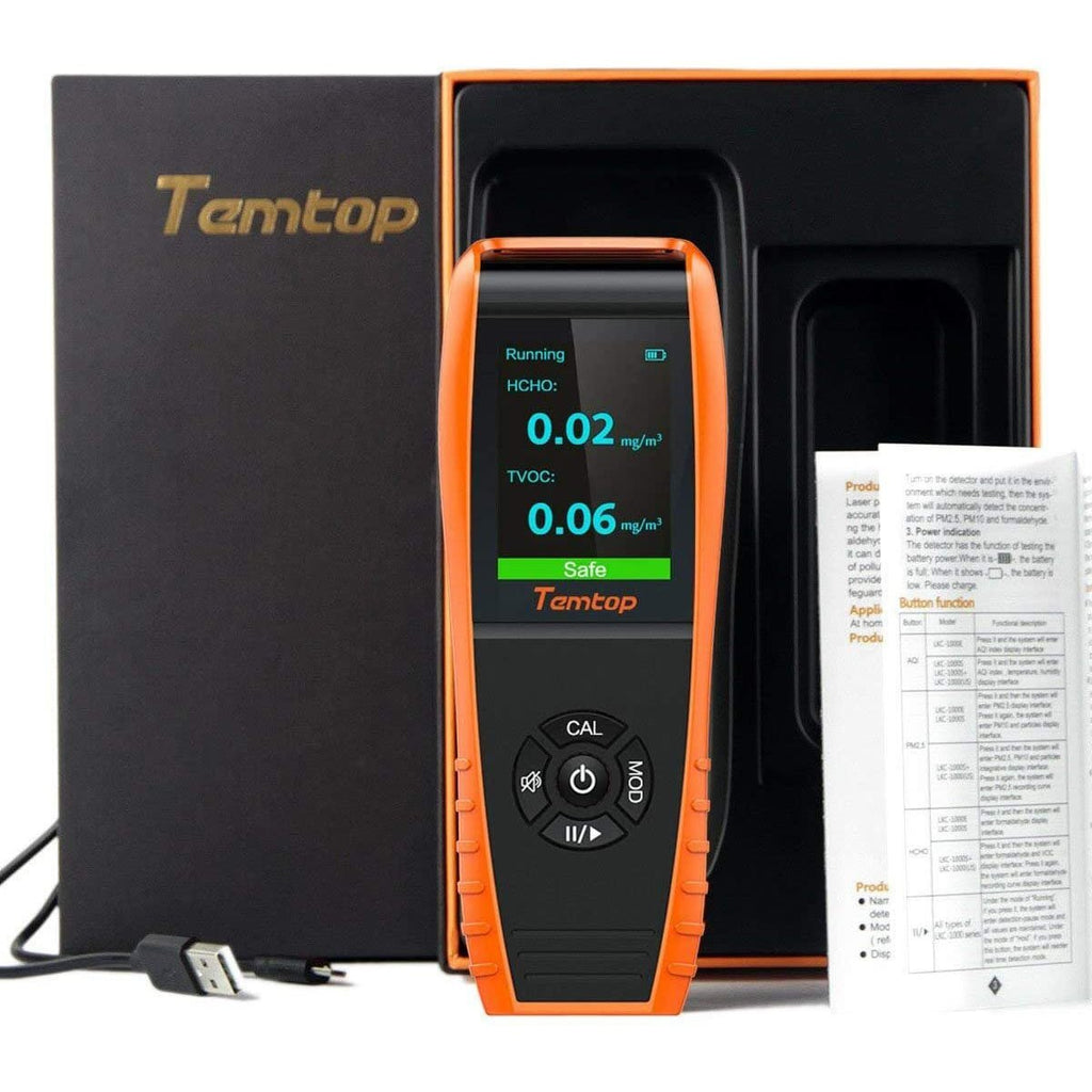 Temtop H3 Air Quality Monitor for HCHO/TVOC Audio Alarm - Temtop