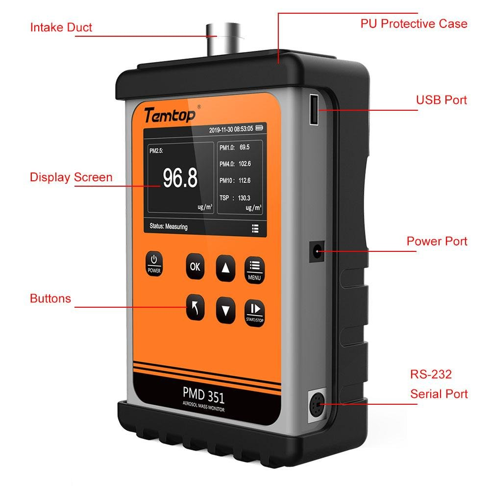 Temtop PMD 351 Handheld Aerosol Mass Monitor Professional Particle Counter PM2.5 Air Quality Monitor Dust Meter Laser Particle Sensor for PM1.0/PM2.5/PM4.0/PM10/TSP - Temtop