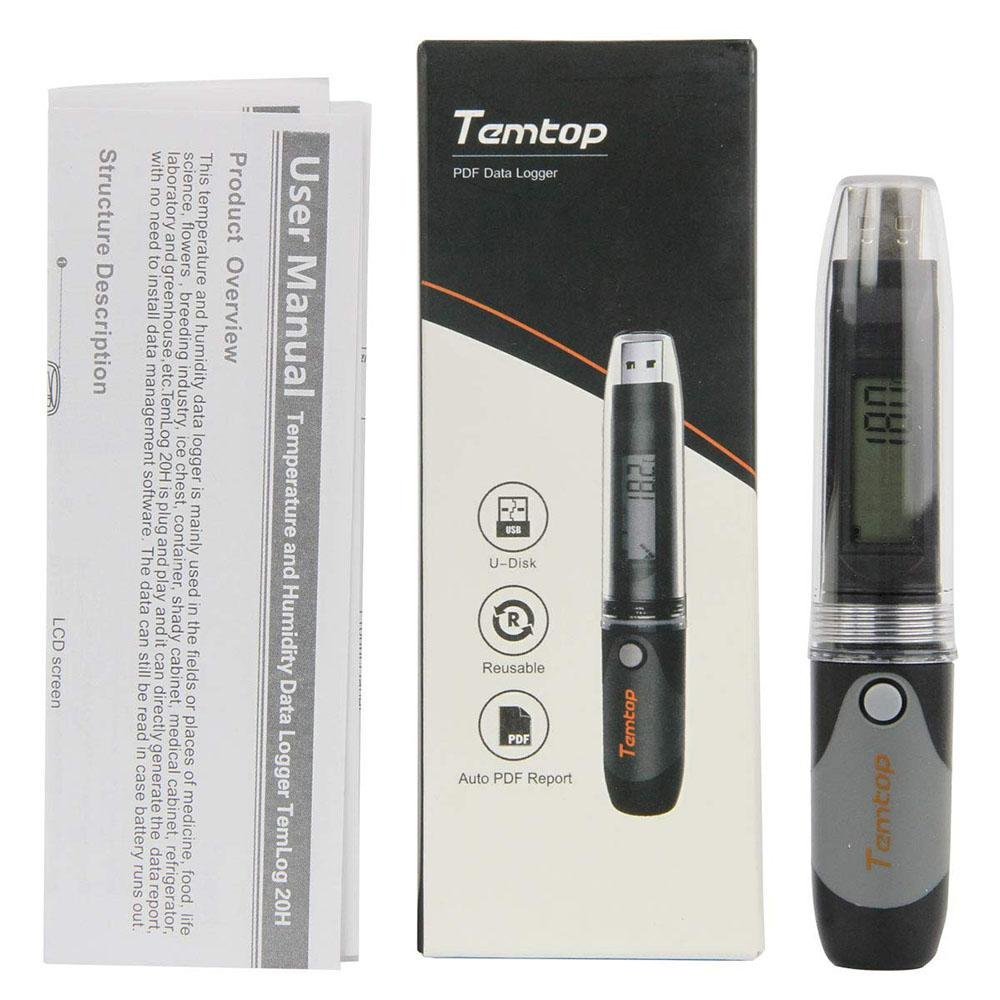 Temtop TemLog 20H PDF Temperature and Humidity Data Logger USB Model 32000 Points - Temtop