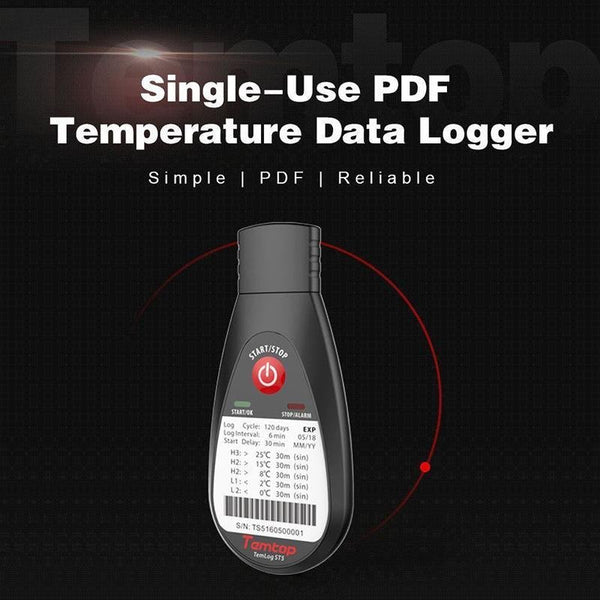 Temtop TemLog ST5 Single-Use PDF Temperature Data Logger 16000 Points (MAX) Disposable Temperature Recorder - Temtop US