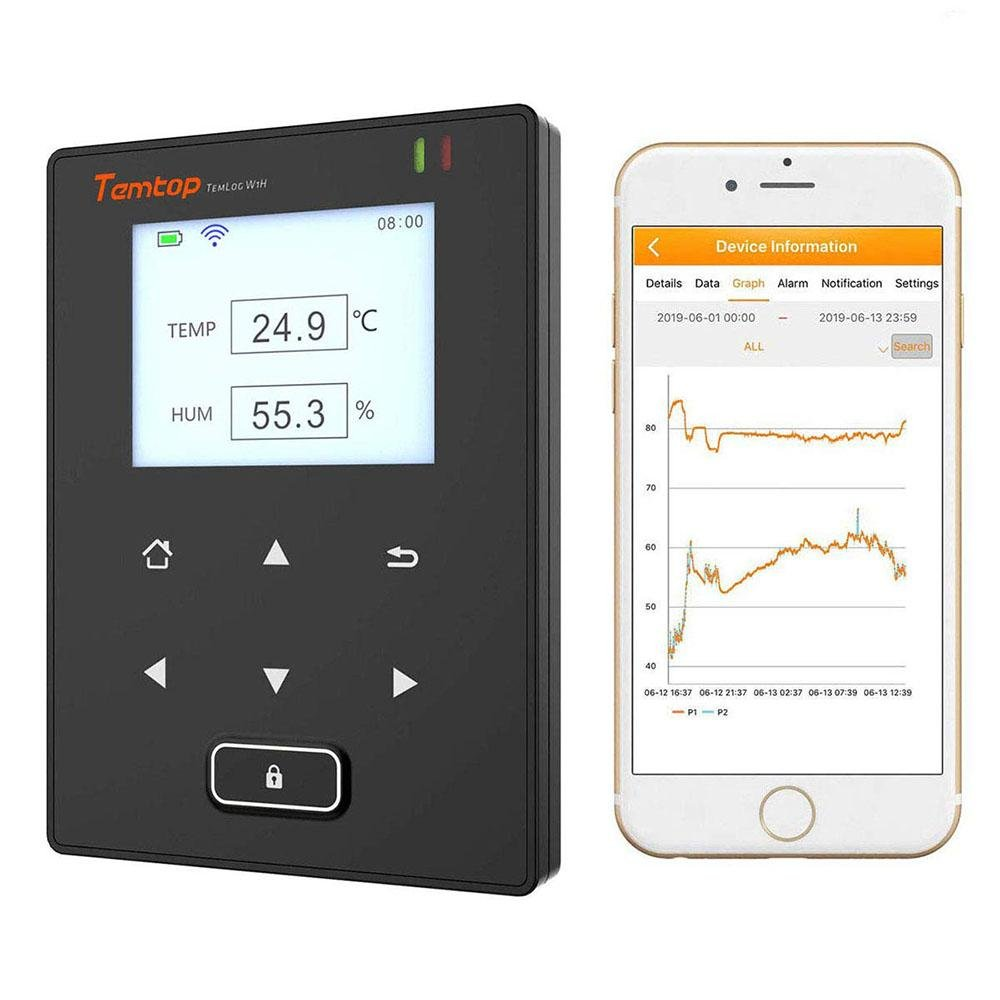 Temtop TemLog W1H Wifi Temperature and Humidity Data Logger Email Alerts Intelligent Remote Monitor Real-time Cell Phone Monitoring - Temtop