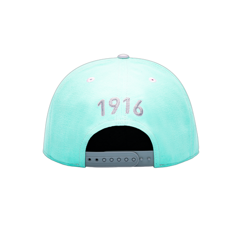 Back side view of Blue grey pink Club America Soft Touch Snapback with 1916 year the team was founded embroidered on the back