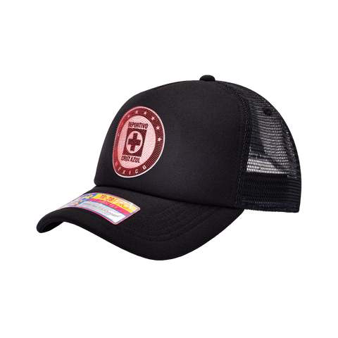 View of left side of Black Cruz Azul Shield Trucker