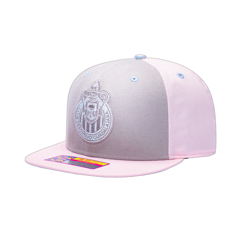 View of left side of Pink Chivas Soft Touch Snapback