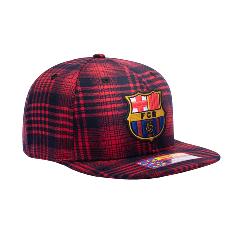 View of right side of red FC Barcelona Hooligan Snapback