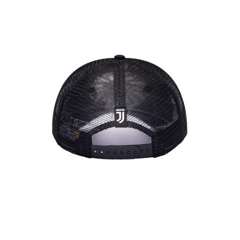 Back side of Black Juventus Shield Trucker with JUVE team tag on the back