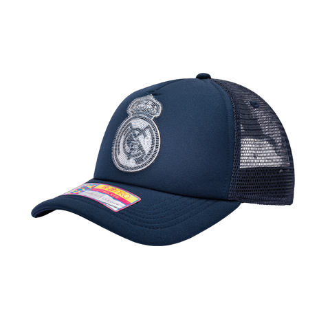 View of left side of blue Blue Real Madrid Shield Trucker