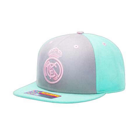 View of left side of Teal grey Pink Real Madrid Soft Touch Snapback with blue green bill and back panels and pink emblem