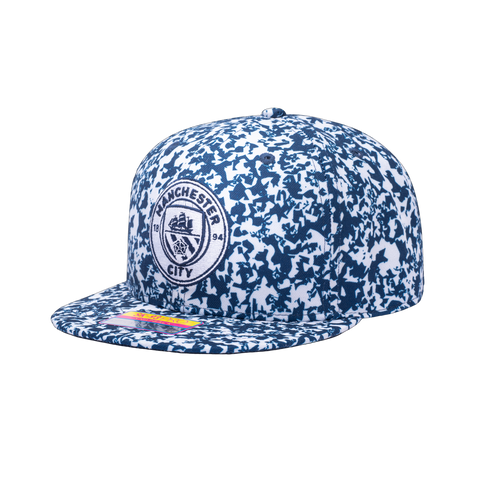View of left side of Blue and white Products Manchester City Notebook Snapback