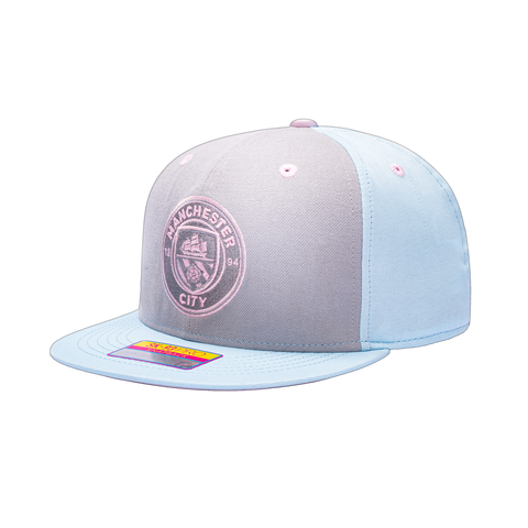 View of left side of Blue grey pink Manchester City Soft Touch Snapback. Grey front panel, blue back panels and bill