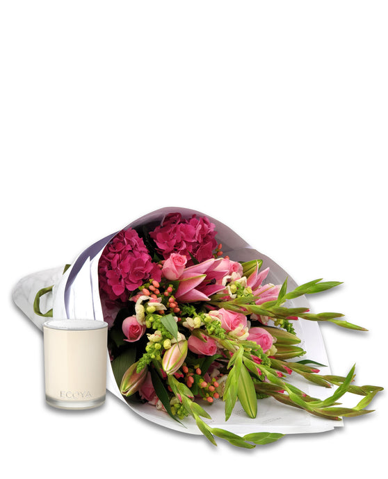 Bouquet & Ecoya Candle Gift Package - Brooklyn Flowers