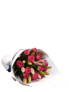 Hot Pink Lily & Rose Bouquet - Brooklyn Flowers
