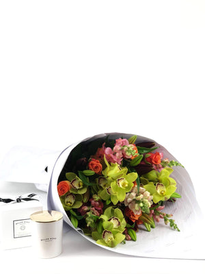 Bouquet and Gift Package, Bouquet & Candle, Cheerful, Bouquet, Brooklyn Flowers, Auckland Florist