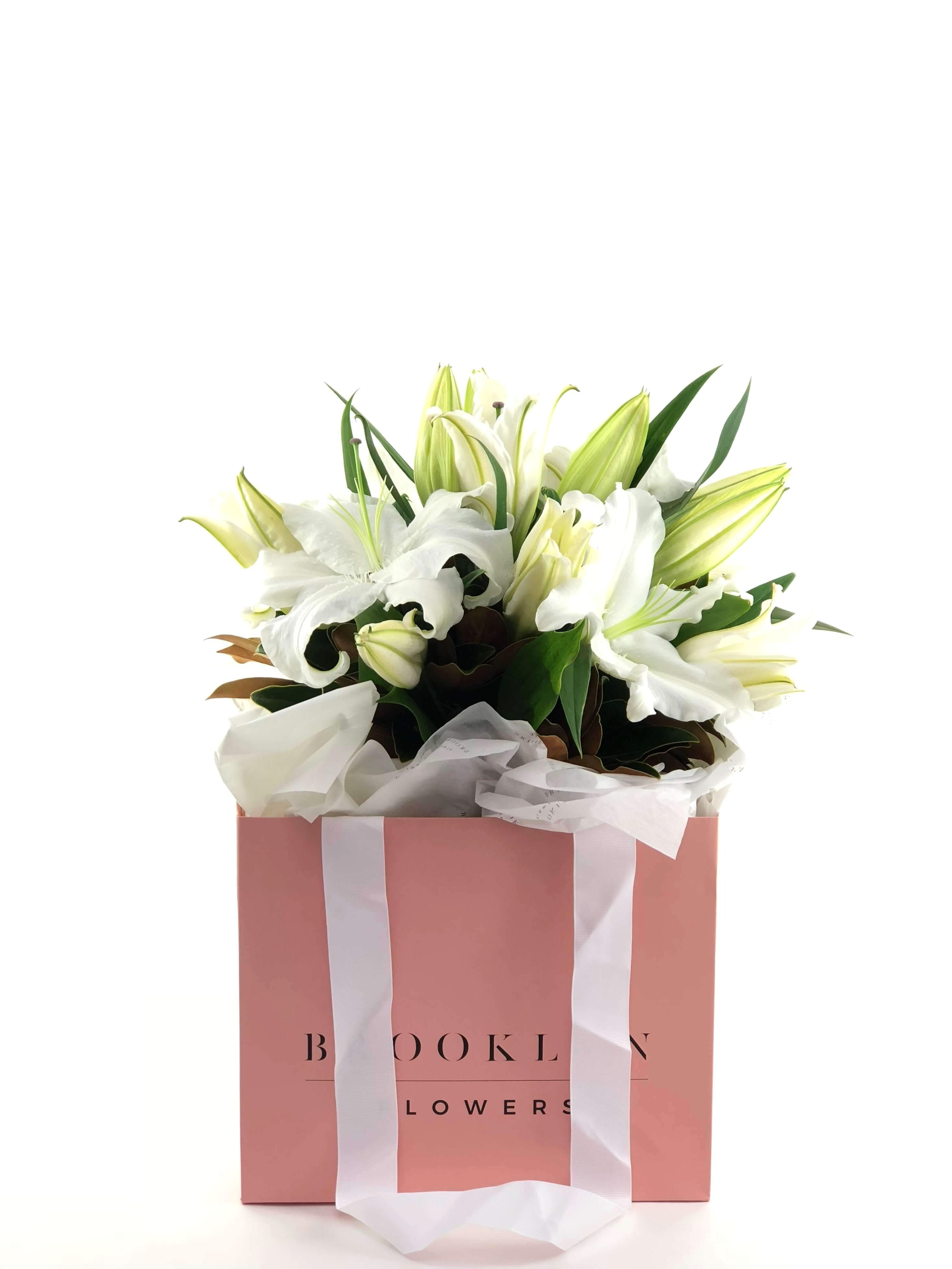 Lily Bag, White Lilies, Brooklyn Flowers